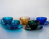 Mid Century Modern Italian Glass Cup and Saucer Set, Opalvis Saivo