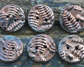 Handmade Porcelain Raku Fern Button Set (6)