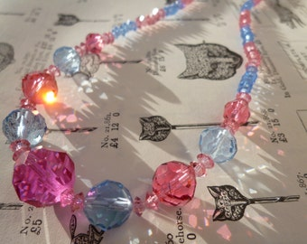 Art Deco Czech Graduated Faceted Glass Crystal Beaded Necklace Pink Blue
