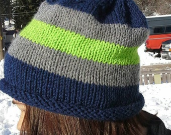 Seahawks Slouchy, Seahawk Slouchy hat, Slouch style Beanie, Slouchy Beanie, 12th Man Hat, Seahawks slouch Hat, Seahawk Hat, Seahawk Beanie
