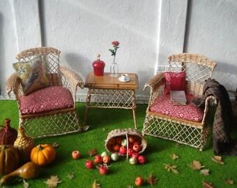 "Set of wicker furniture ""Autumn"" (scale 1:12) . Please read the item description."