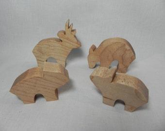 Wooden Animal Set (Deer Family-Maple)