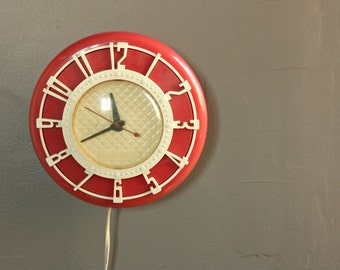 Popular items for horloge de cuisine on etsy for Horloge murale cuisine rouge