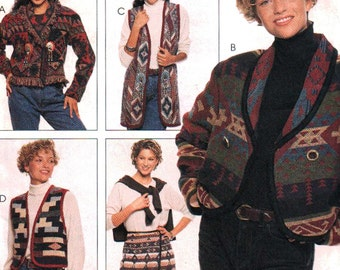 McCall's Sewing Pattern 7769 Misses unlined jacket, unlined vest in two lengths and wrap skirt  Size 8-16  Uncut