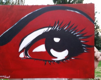 Painting, acrylic on pre-stretched canvas, red, black and white color palette, 24 x 17 3/4