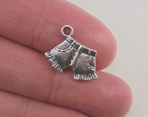 8 pc. Shorts charm, 16x12mm, antique silver finish
