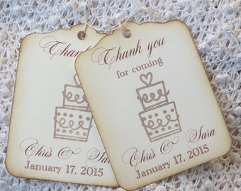 Custom wedding favor tags, wedding cake thank you tags, Custom wedding gift tag, Vintage wedding favor tags