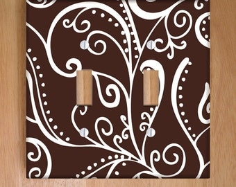 Silent Era Brown Vinyl Double Light Switch Cover Outlet Cover Wallplate Home