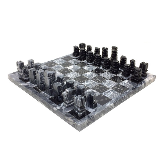 Vintage aztec stone chess set with black gray pieces plus - Granite chess pieces ...
