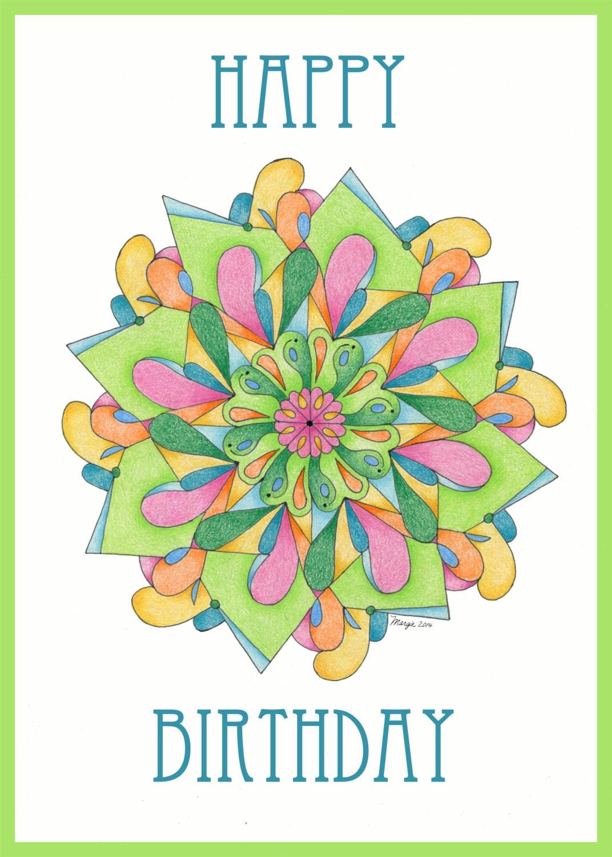 Carte de joyeux anniversaire de mandala - Mandala anniversaire ...