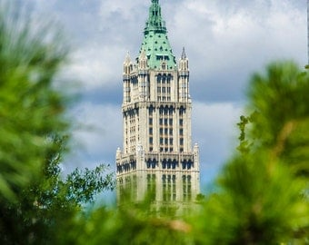 NYC skyline picture Woolworth building from brooklyn urban photos cityscape office art home decor photograph new york city skyscrapers