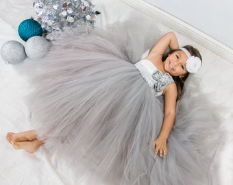 Silver and White Flower Girl Tutu Dress, Rhinestone Tutu Dress, Flower Girl Tutu Dress, White Flower Girl Dress, Silver Flower Girl Dress