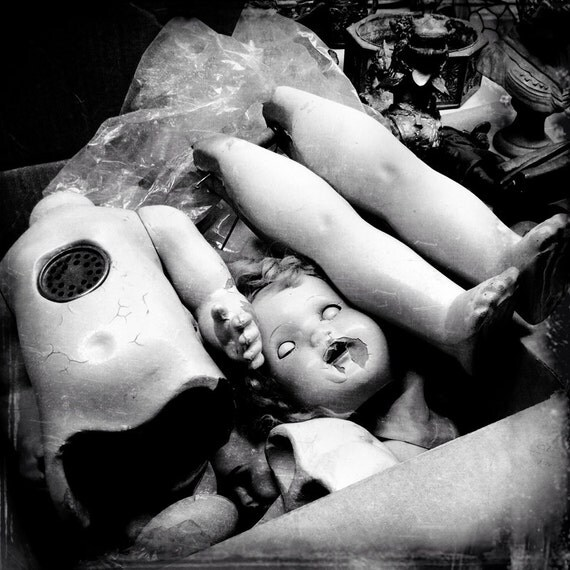 Doll Parts 5x5 8x8 Fine Art Photo Scary Old Dolls Old