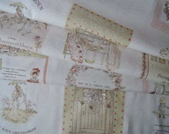 "Last Panel of Lecien Kate Greenaway Fabric on Ivory Background. Made in Japan Approx. 24"" x 44"""