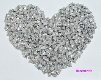 "300pcs Silver Color Medium Size 3D Origami Hearts ""LOVE"". (4D Glittering Paper Series). #FOH-119."