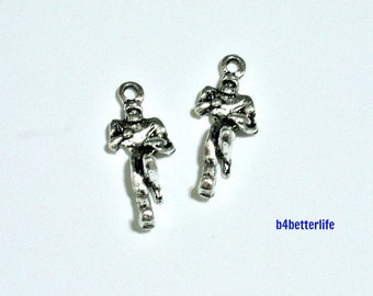 """6pcs Antique Silver Tone """"I Love Rugby"""" Metal Charms. #BC4117."""