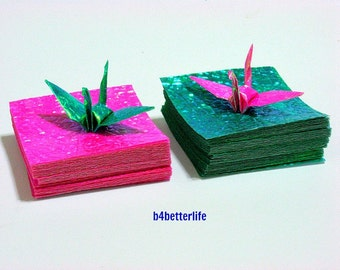 """200 Sheets of 2""""x2"""" DIY Papers Kit In Cyan & Pink for Origami Cranes. (CY paper series)."""
