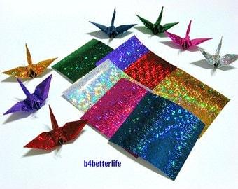"112 Sheets 3"" x 3"" Assorted Color DIY Chiyogami Yuzen Paper Folding Kit for Origami Cranes ""Tsuru"". (4D Glittering paper series). #CRK-32."