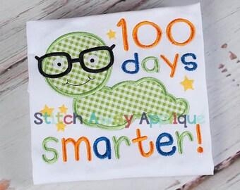 100 Days of School Worm Machine Applique Design