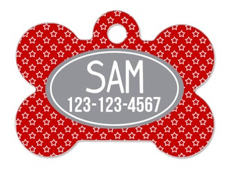Personalized Pet Tag - Pet ID Tag - Personalized Dog Tag - Custom Pet ID Tag - Red Stars Gray