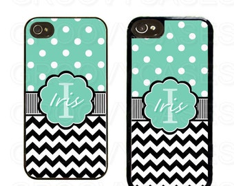 Personalized iPhone 4 4s 5 5s 5c Case Rubber Black Chevron Green Polka Dot