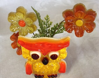 10% OFF SALE Small Owl and Flowers Lucite statue/ figurine/ paperweight RETRO