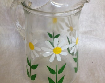 10% OFF SALE Vintage Glass Pitcher with Daisies