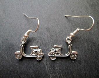 Silver Vespa Motor Scooter Charm Earrings
