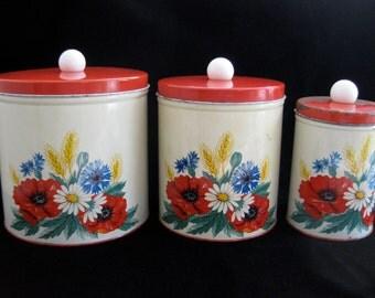 Vintage 1950s Floral Canister Set