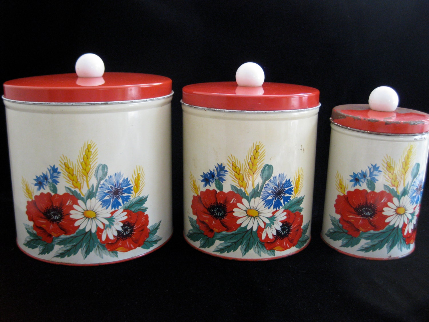 vintage 1950s floral canister set by millesvintageattic on