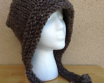 Chunky Knit Hoodie Hat in Barley Brown, Hand Knitted Super Chunky Hat, Knit Snowboard Hat, Gift for Her  **Ready To Ship**