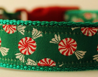Peppermint Twist Dog Collar/Adjustable/Holidays/Candy