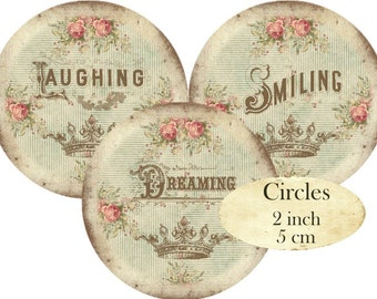 Sentiments Words Text Circles 2 inch Instant Download digital collage sheet vintage laugh smile dreaming C277