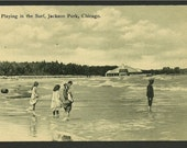 Vintage Black and White  Postcard - Playing in the Surf at Jackson Park, Chicago, Illinois   (1107a)