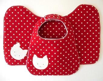 Luxury Burp Cloth and Bib Gift Set Kitty Cat on Red Polka Dot Cotton and White Polar Fleece, Baby Shower Gift for Girl, Modern Baby