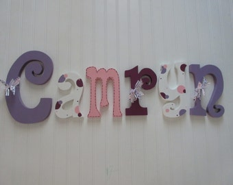 Nursery letters, Nursery wall hanging letters, Cranberry, White, & Lavender nursery decor, nursery wall letters