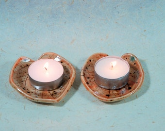 Ceramic Leaf  Plate, Pair , Candle Holder , Tea light holder , Ring Holder, Trinket Dish, Jewelry Holder , tea bag holder.