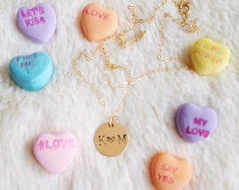 Handstamped Love Initial Necklace