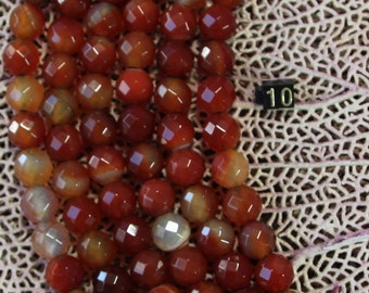8MM Carnelian round faceted  Large Hole Beads