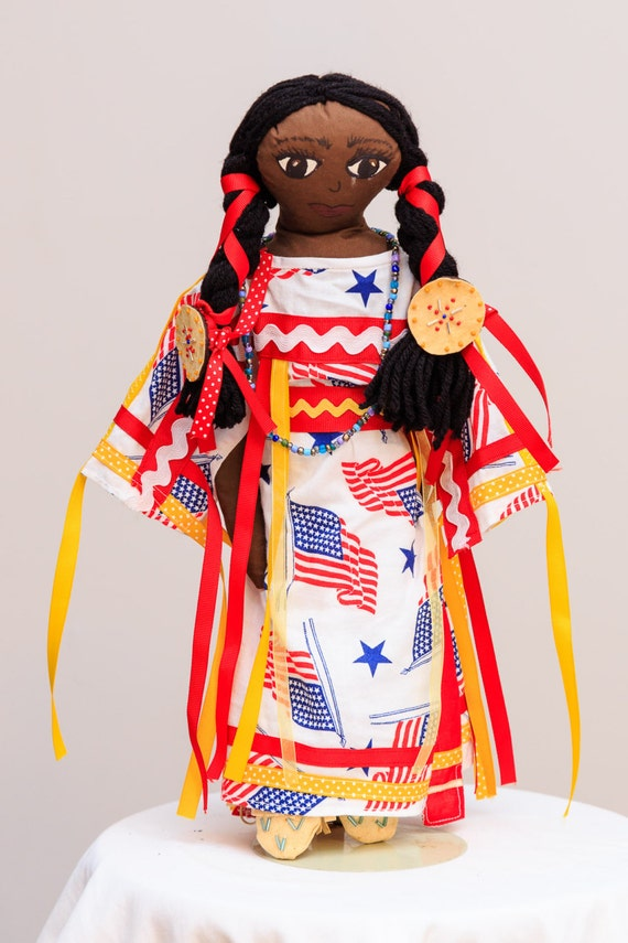 Native American Doll- Yellow, Red, White and Blue Ribbon Dress- Plains Style