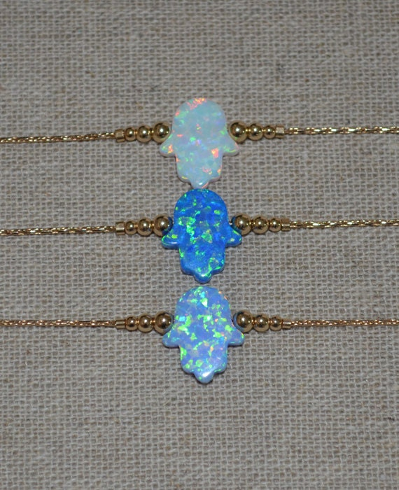 Opal Hamsa Bracelet, Gold Bracelet, tiny  opal hamsa hand bracelet, protection/good luck bracelet, opal jewelry/jewellery