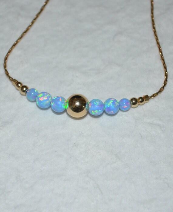 Blue Opal Bracelet, Opal Jewelry, opal ball/bead bracelet, opal gold bracelet, simple/elegant tiny dot horizontal bar bracelet