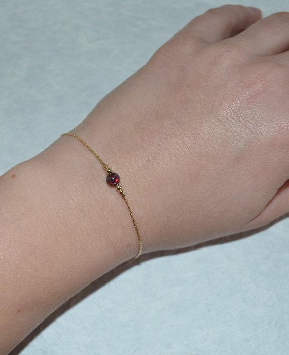 Opal Bracelet, Tiny Opal Dot Bracelet, simple dainty coin/circle gold bracelet, minimalist pendant bracelet, opal jewelry