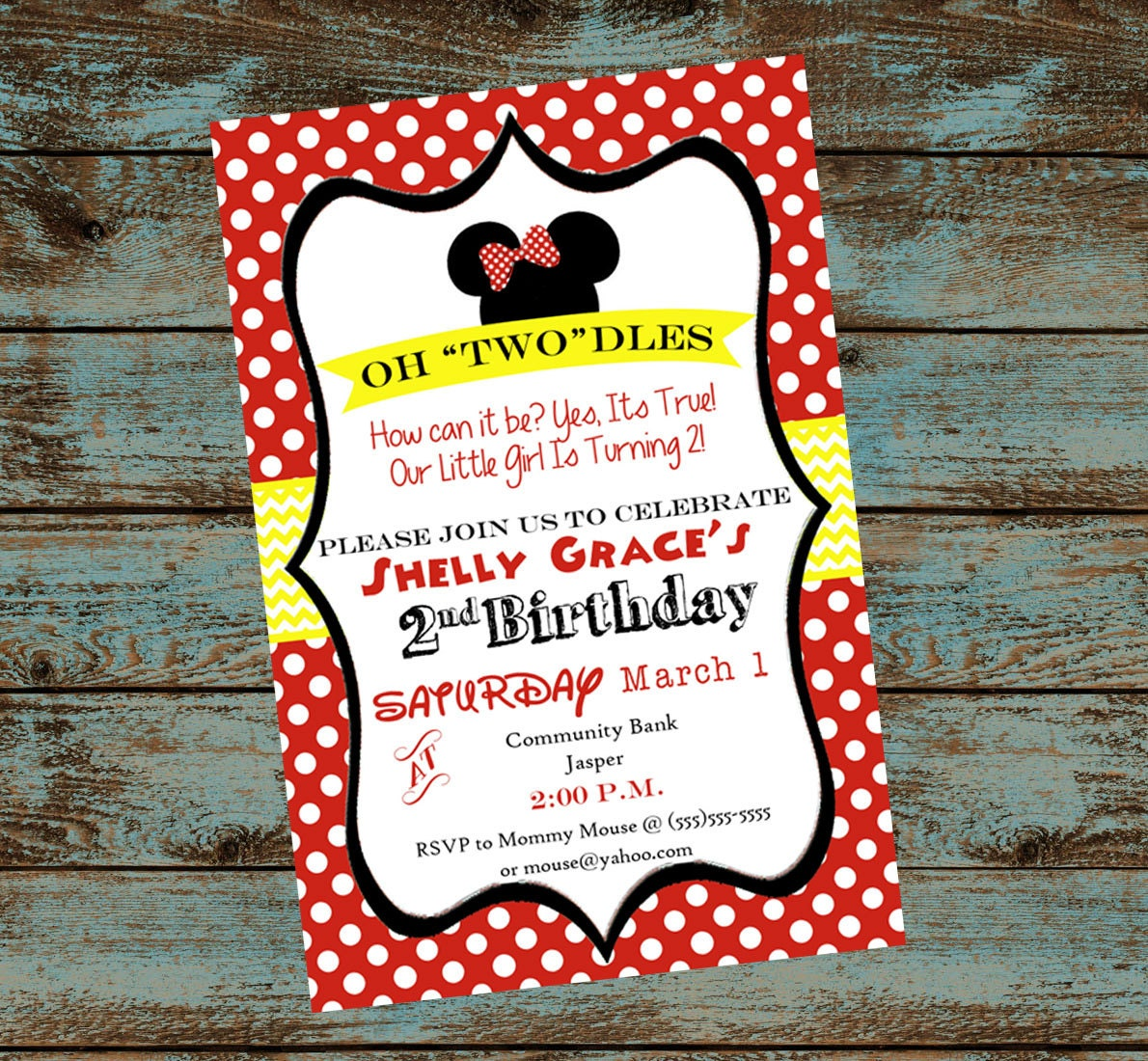 Oh Toodles Minnie Mouse 2nd Birthday Party Invitation
