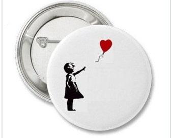 Pinback Button or Magnet or Pocket Mirror or Bottle Opener Banksy