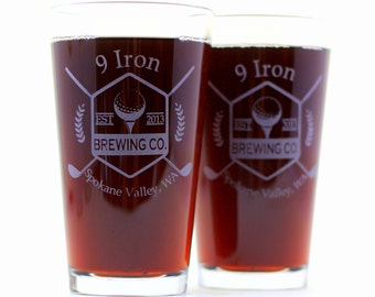 9 Iron Brewing Personalized Glasses (2) ,dad gift,Golf Gift,Gifts for Him,Christmas Gift,Engraved Gift,Golfer Gift,Etched Gift,Custom Gift