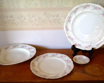 Fine china, white with pink floral pattern and hand painted gold filigree accents.