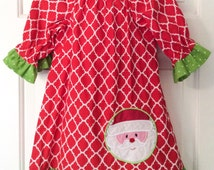 Only 2 left! READY TO SHIP Girls Christmas Dress - Peasant Dress with Santa Applique