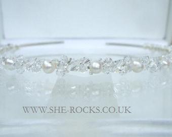 Swarovski Crystal bridal headband Freshwater pearl and clear crystal wedding head band crystal tiara, Swarovski Crystal hairband tiara