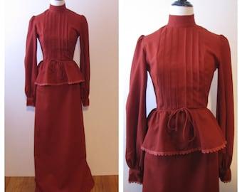 Vintage 1970s Simon Ellis High Neck Peplum Dress